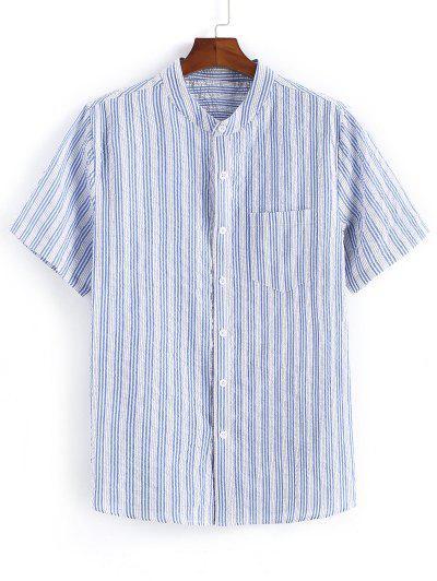 Striped Print Pocket Patch Button Up Shirt - Light Blue 2xl