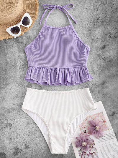 ZAFUL Textured Ribbed Ruffle Halter Tankini Swimsuit - Light Purple L
