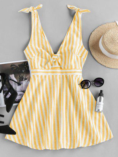 ZAFUL Striped Twisted Tied Plunging Dress - Light Yellow S