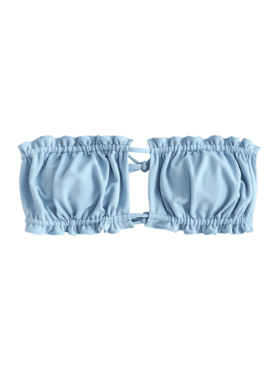 ZAFUL Textured Tie Convertible Bandeau Bikini Top