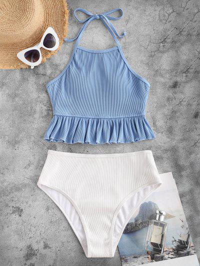 ZAFUL Textured Ribbed Ruffle Halter Tankini Swimsuit - Light Blue S