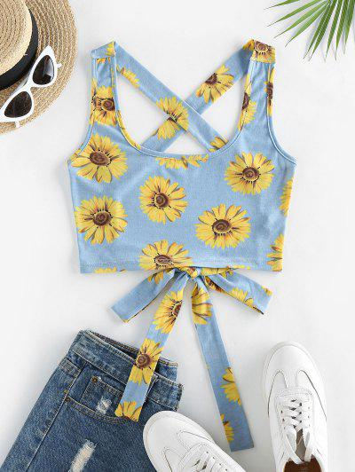 ZAFUL Crisscross Tied Sunflower Print Crop Top - Light Blue S
