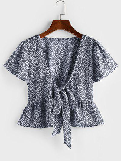 ZAFUL Ditsy Print Tie Front Flutter Sleeve Peplum Blouse - Cadetblue S