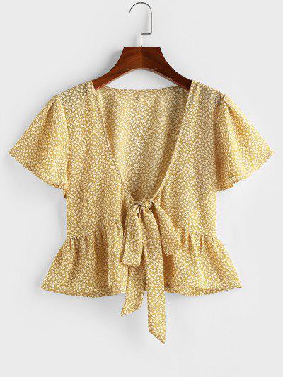 ZAFUL Ditsy Print Tie Front Flutter Sleeve Peplum Blouse - Yellow M