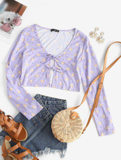 ZAFUL Floral Ribbed Tie Plunge Crop Tee - Light Purple S