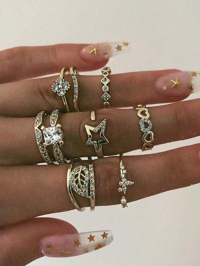 8 Pcs Rhinestone Leaf Star Ring Set - Golden