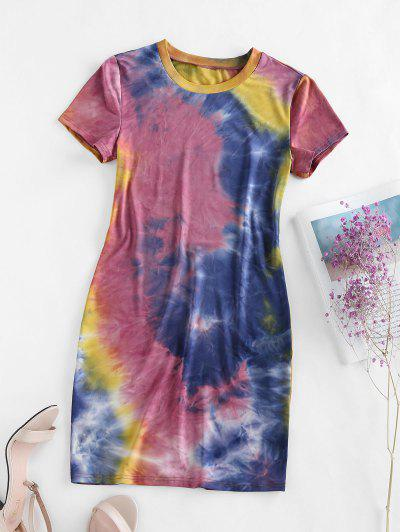 ZAFUL Tie Dye Bodycon Mini Dress - Multi-b L