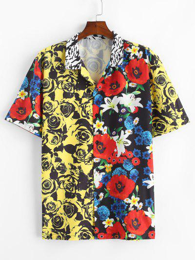 Rose Flower Print Contrast Vacation Shirt - Yellow M