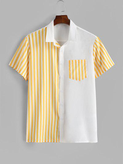 Contrast Striped Patch Pocket Vacation Shirt - White 2xl