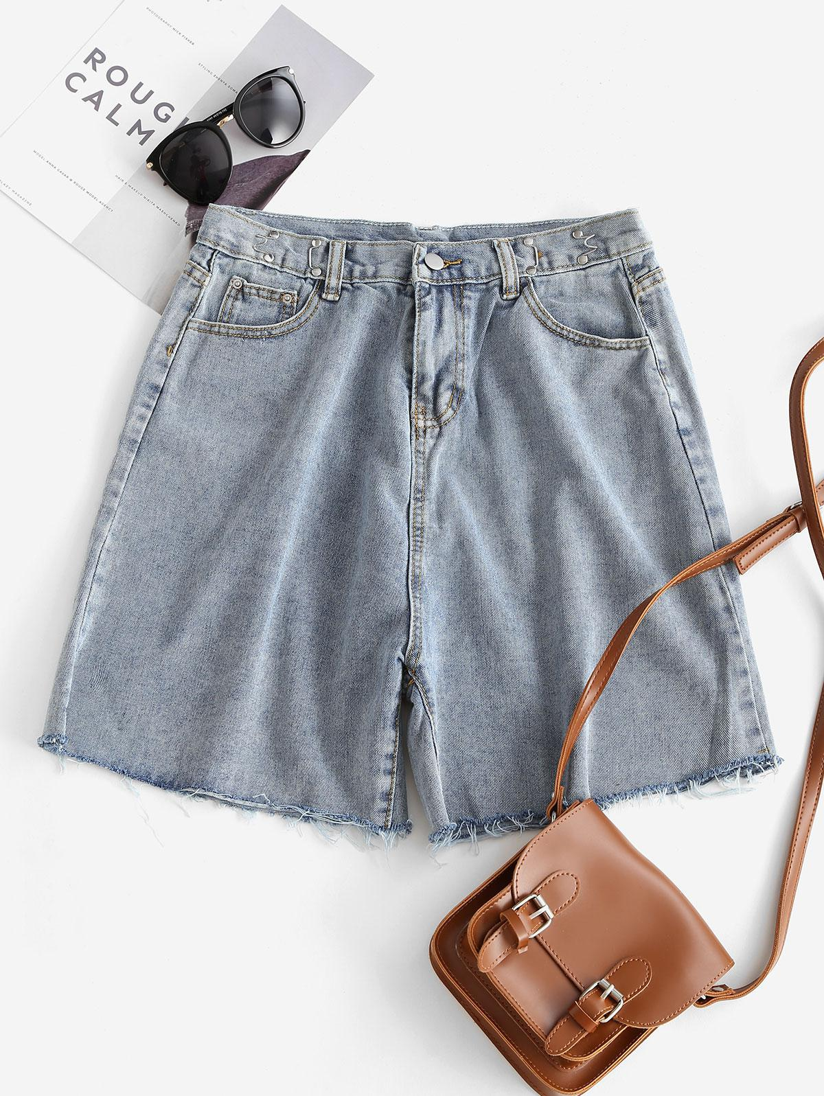 Raw Cut Frayed Wide Leg Denim Shorts