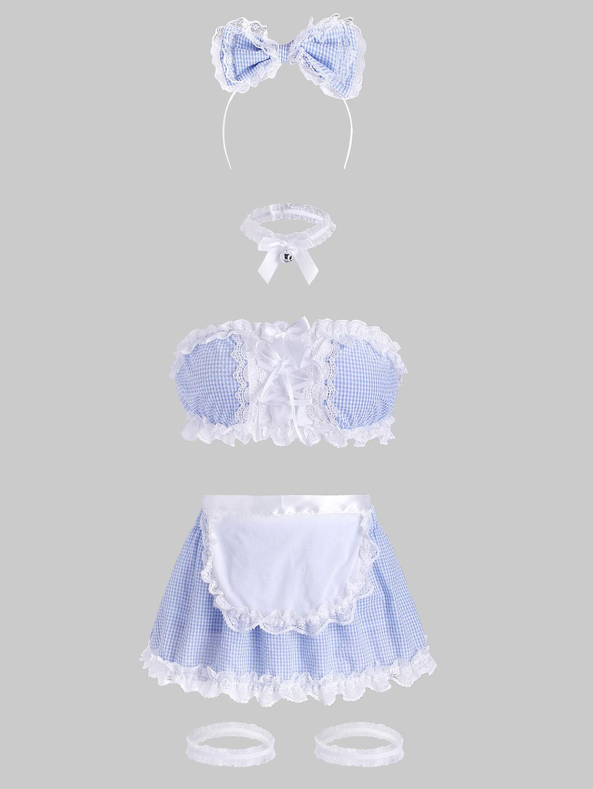 Lace Up Gingham Lace Trim Lingerie Maid Costume