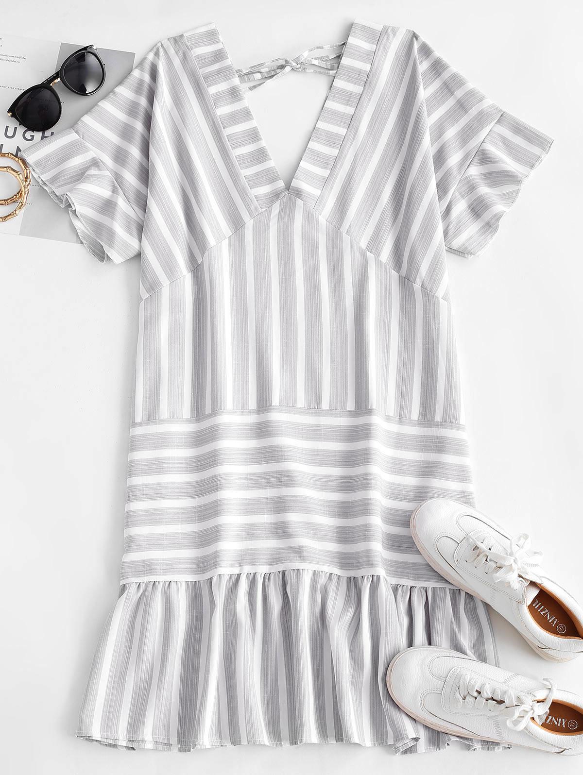 Striped Flounce Plunge Pep Hem Tie Dress