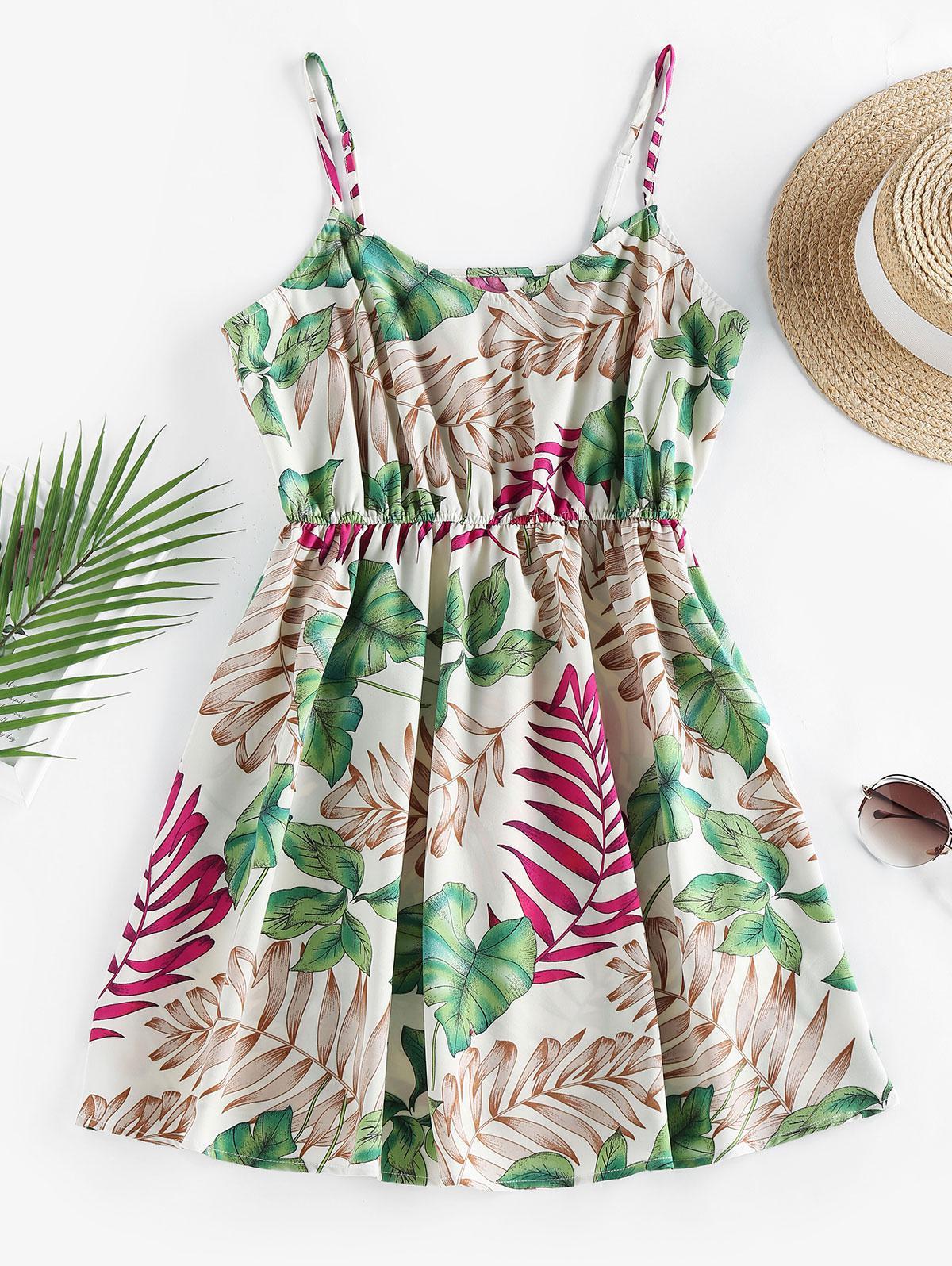 ZAFUL Leaf Print Tropical Sundress