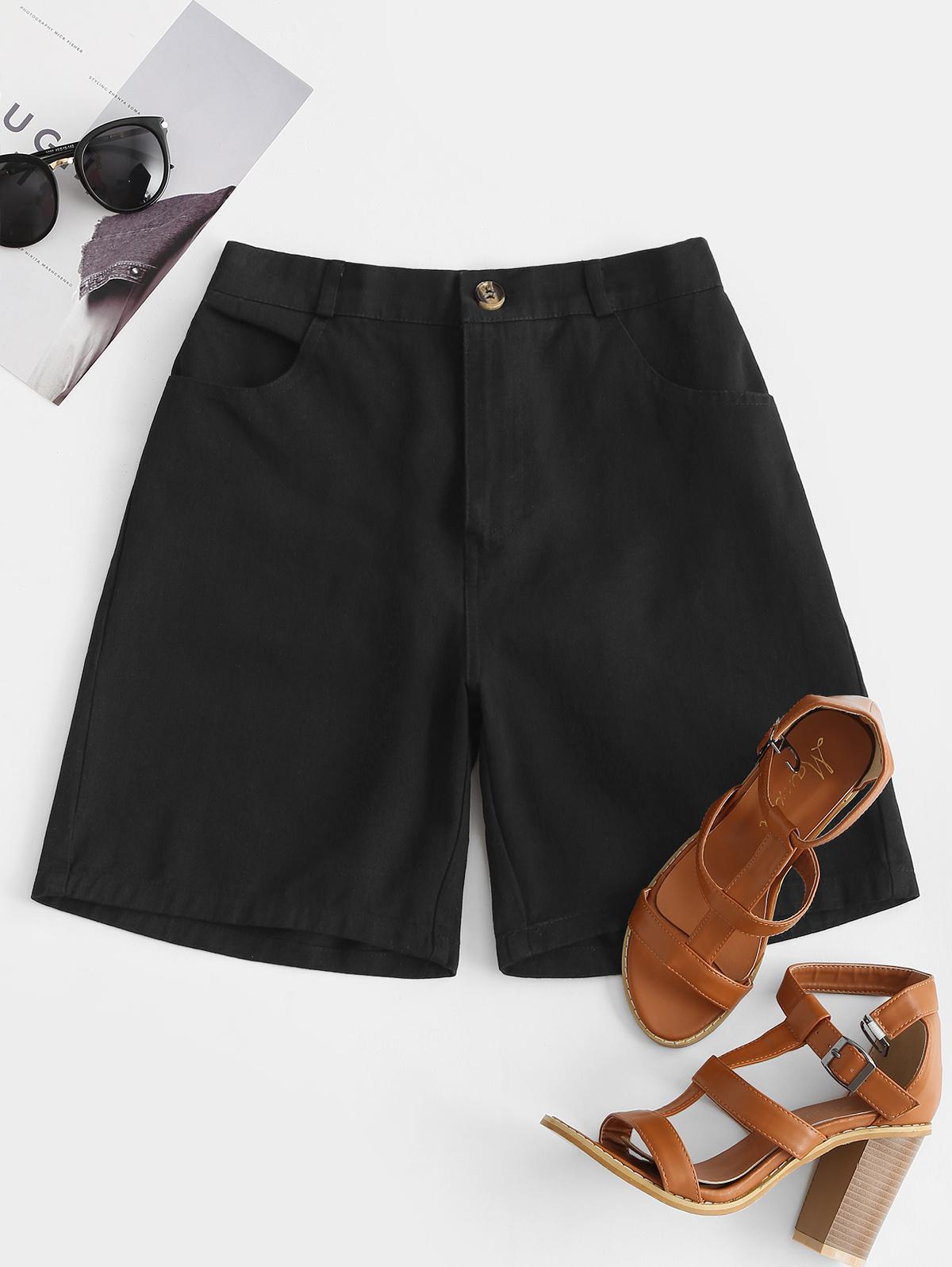 High Rise Zip Fly Pocket Bermuda Shorts