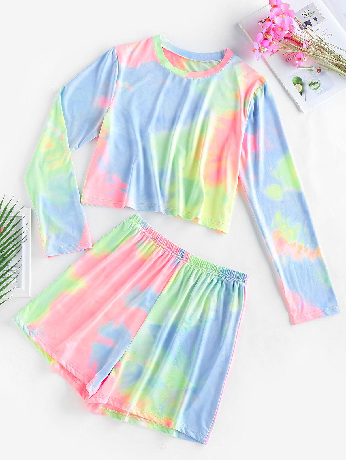 ZAFUL Tie Dye Long Sleeve High Waisted Shorts Set