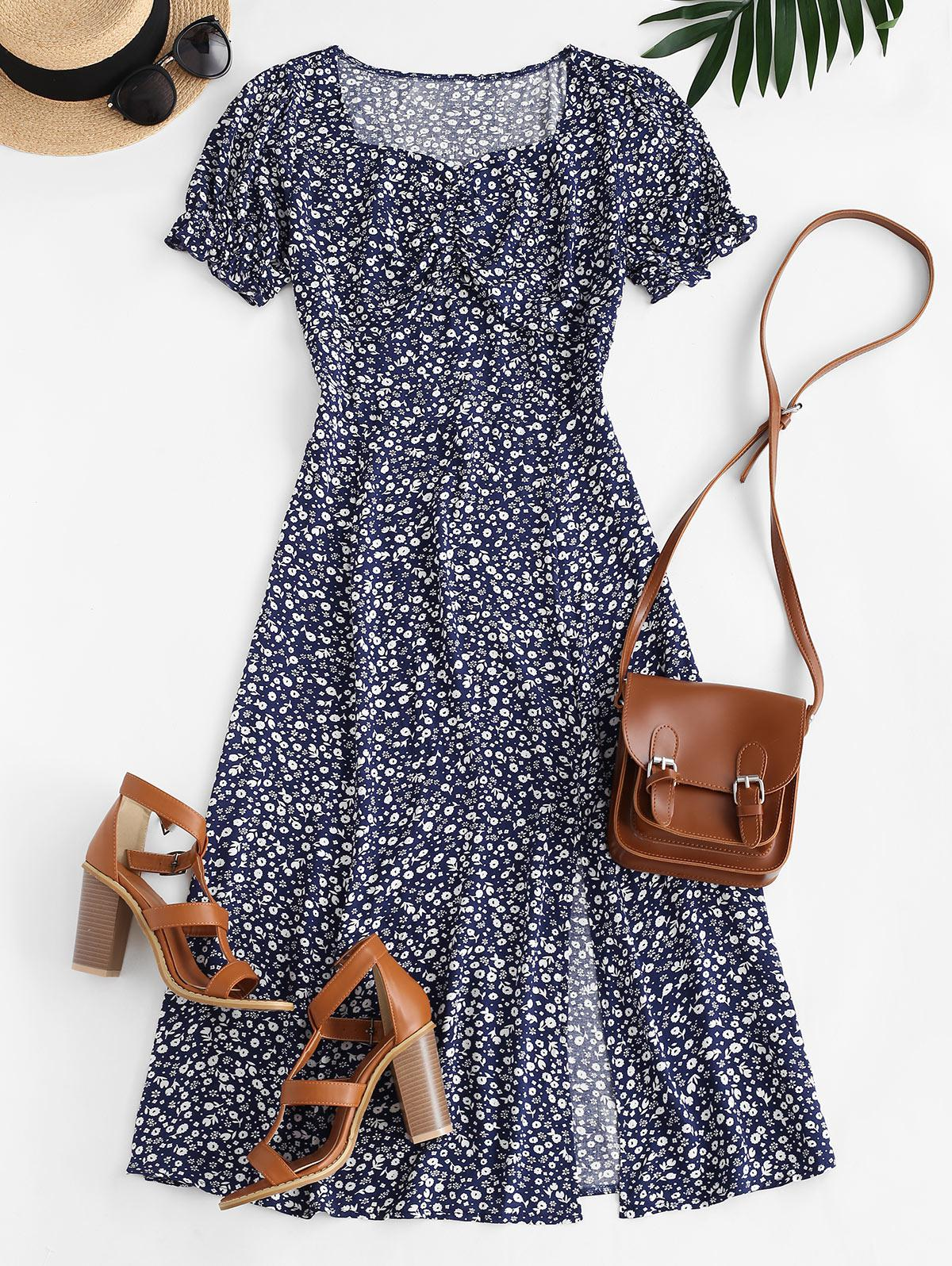 Ditsy Floral Slit Midi Tea Dress