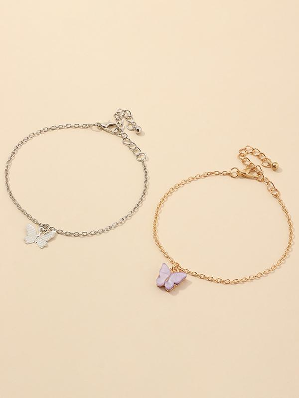 Alloy Butterfly Shape Charm Bracelets Set
