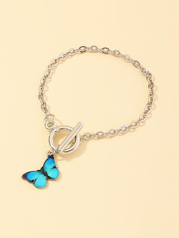 Butterfly Pendant Lariat Bracelet