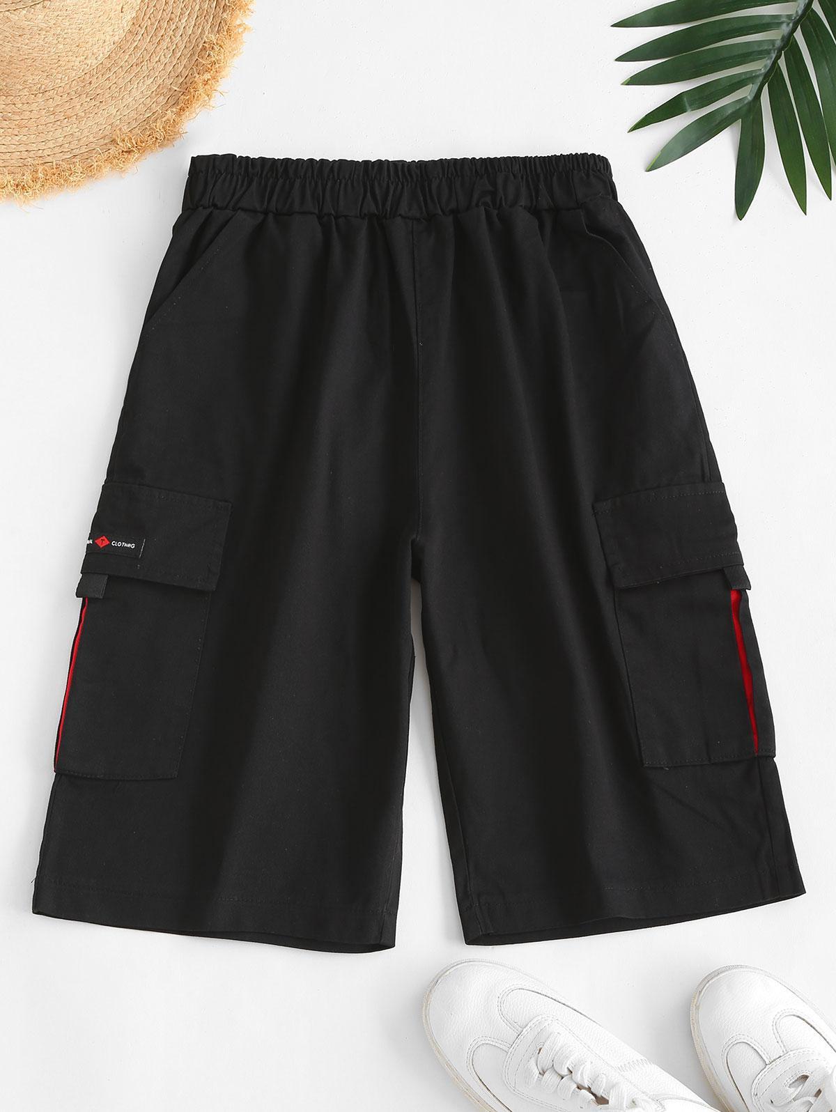 Knee Length High Rise Cargo Shorts