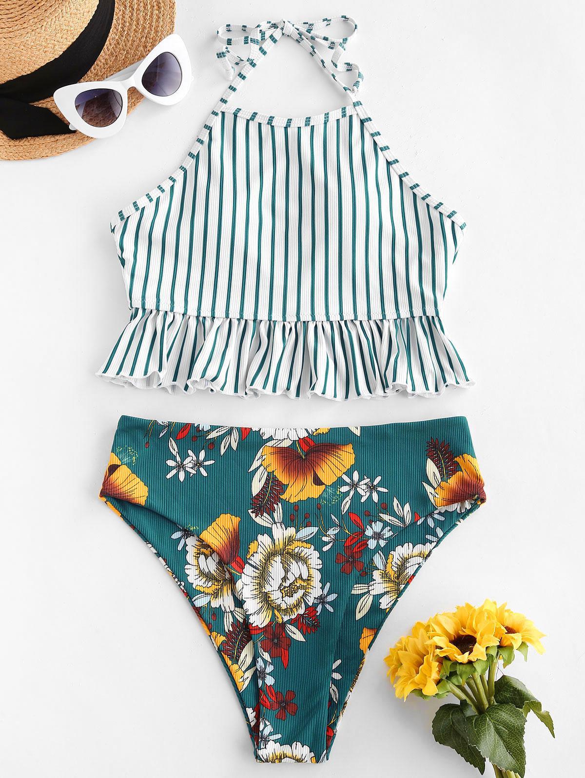 zaful Striped Flower Ribbed Ruffle Tankini Swimwear