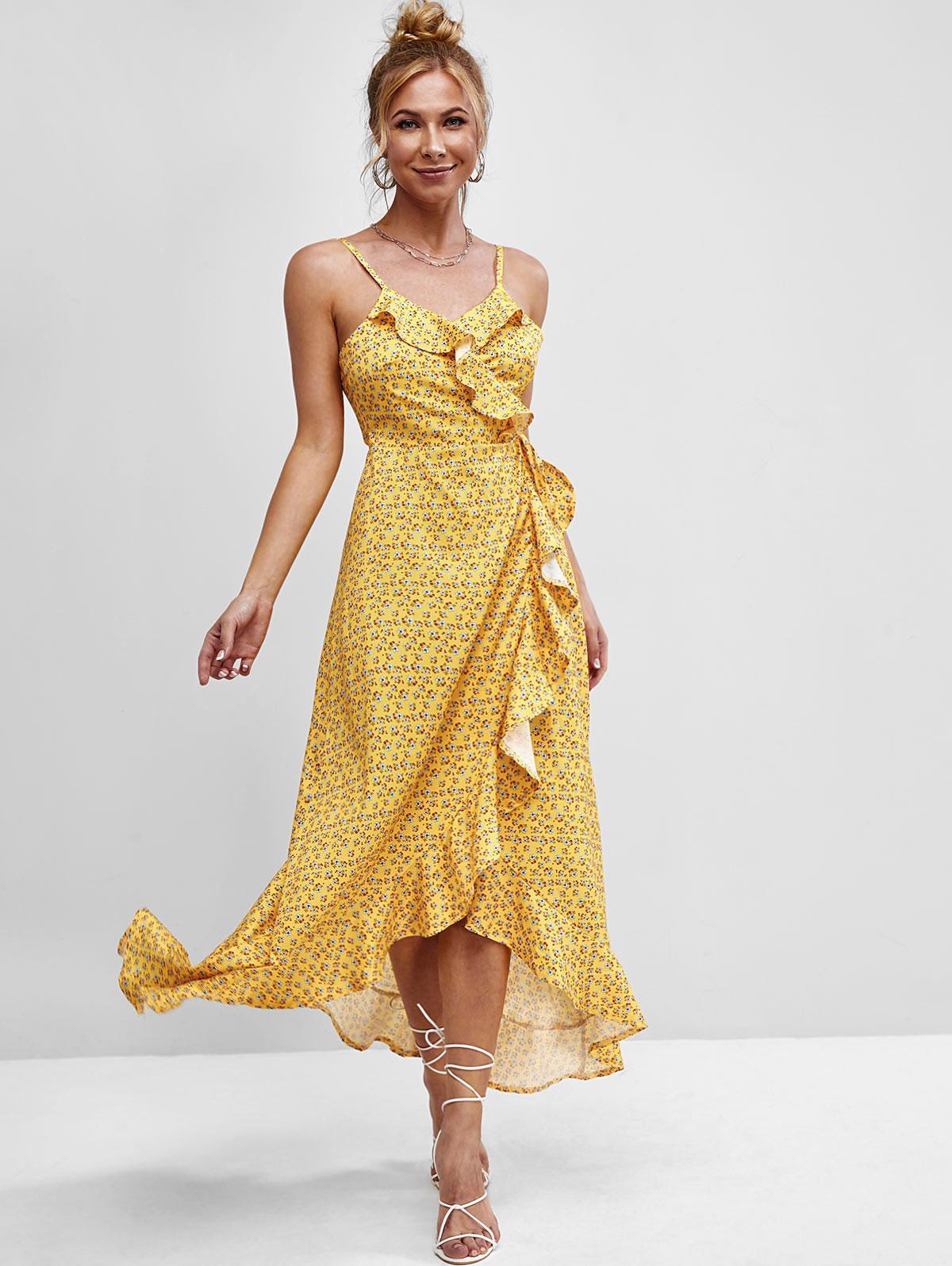 Ditsy Floral Ruffles Cami Wrap Dress