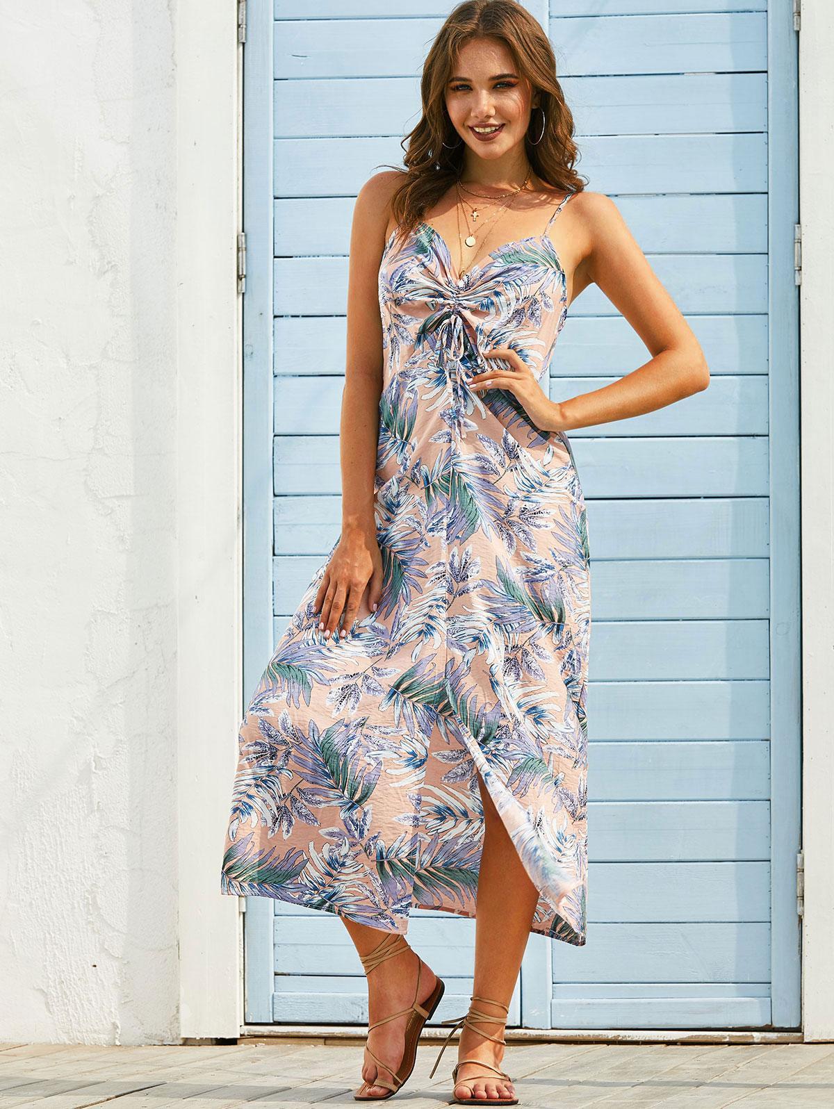 Leaf Print Cinched Slit Long Cami Dress