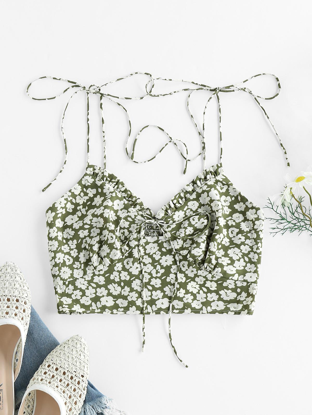 ZAFUL Ditsy Print Ruffle Smocked Tie Shoulder Bustier Top