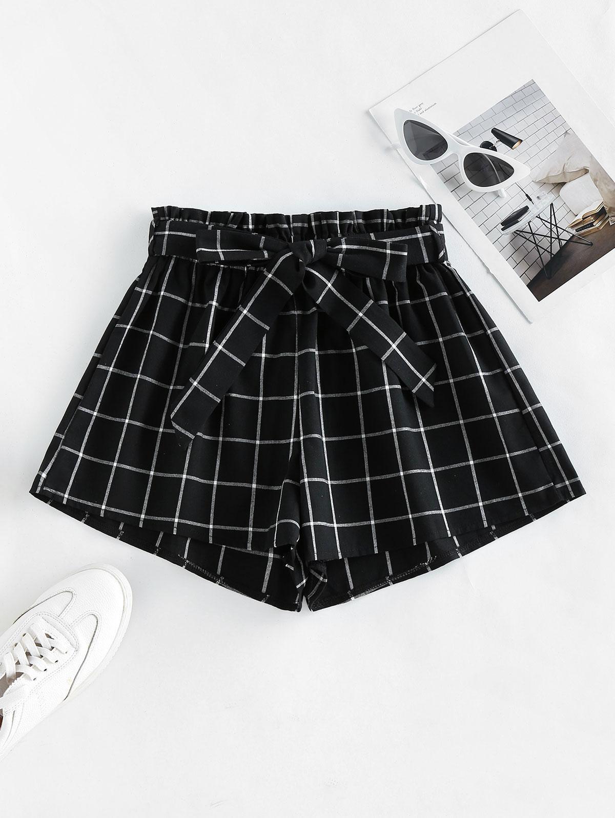ZAFUL Grid Print Paperbag Shorts