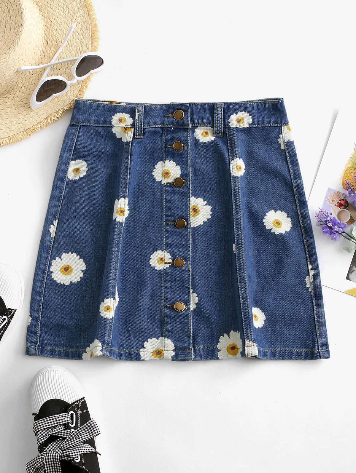 Button Up Daisy Print Denim Skirt
