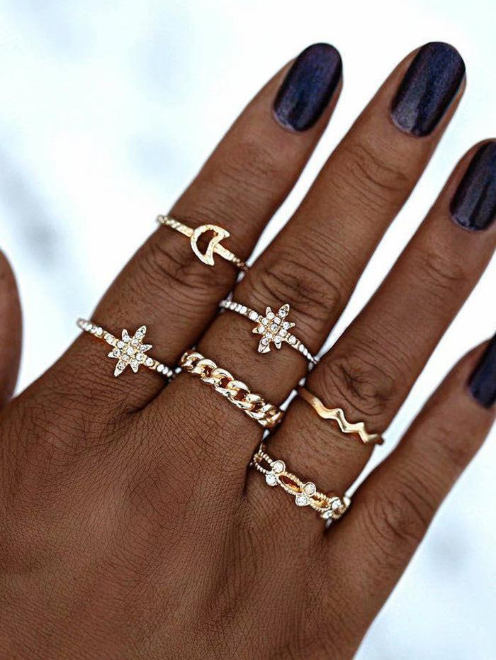 Rhinestone Moon Star Shape Rings Set