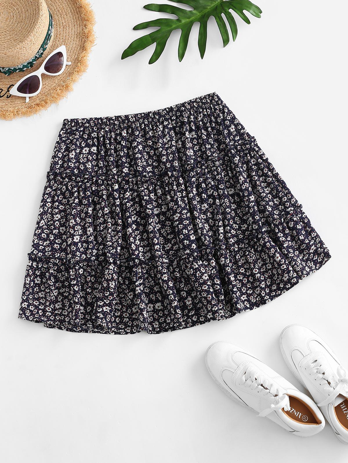 Ditsy Print Tiered Skirt