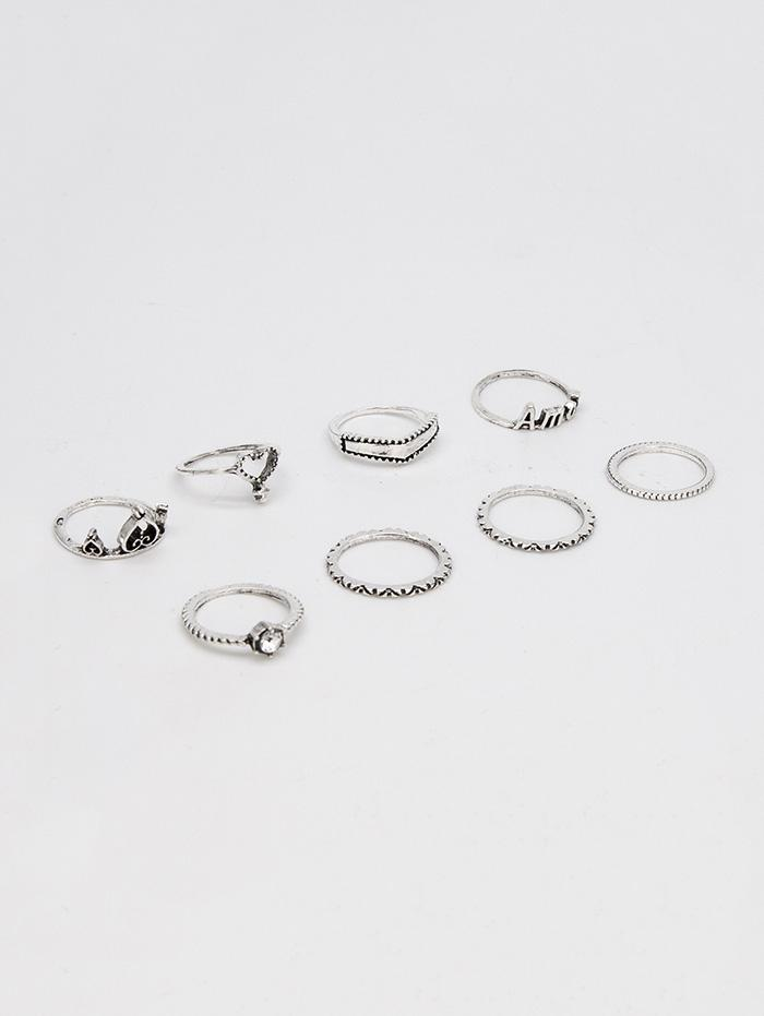 8Pcs Heart Hollow Out Ring Set