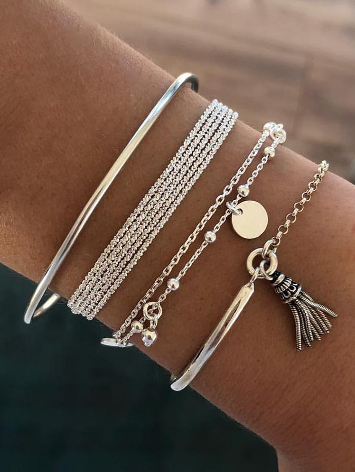 4Pcs Ethnic Tassel Layered Bracelet Set
