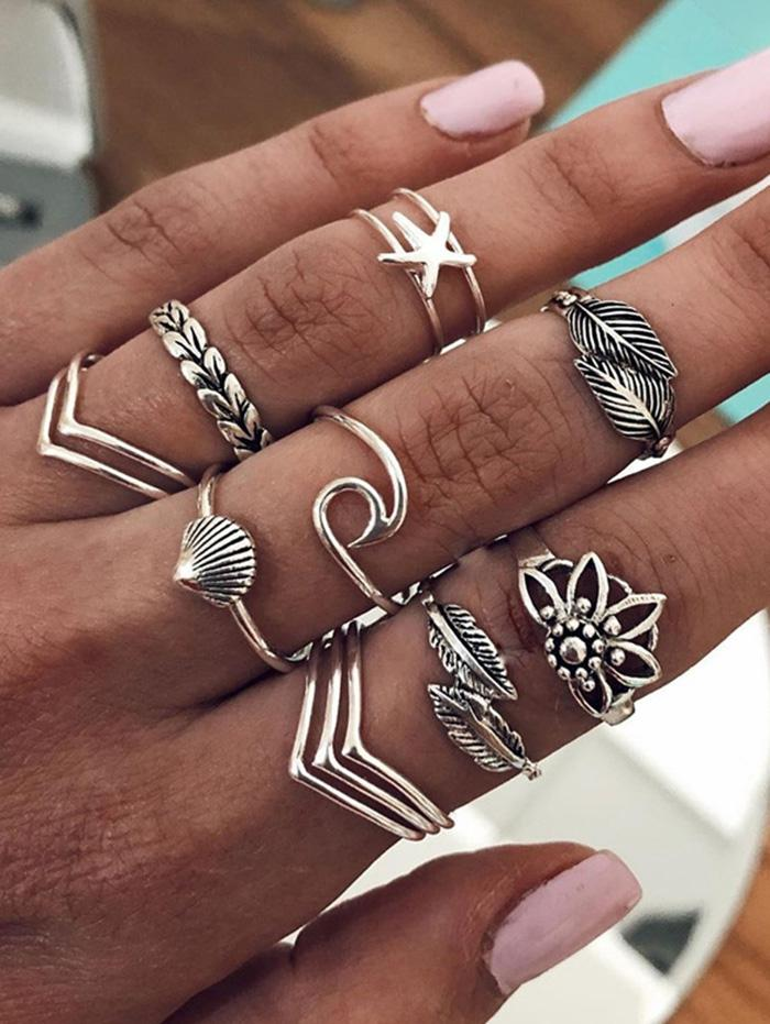 Leaf Shell Starfish Shape Rings Set