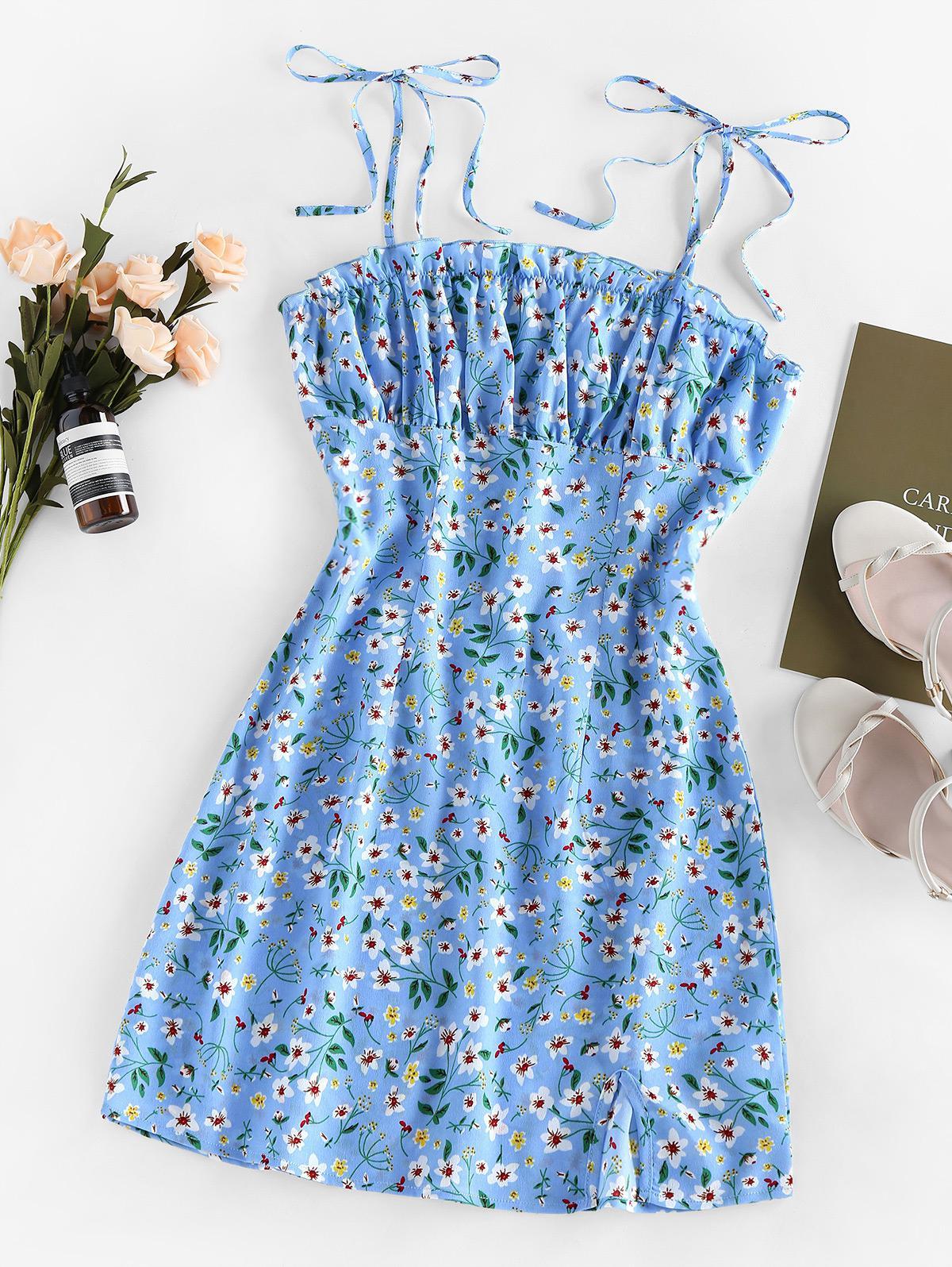 ZAFUL Ditsy Print Slit Mini Dress