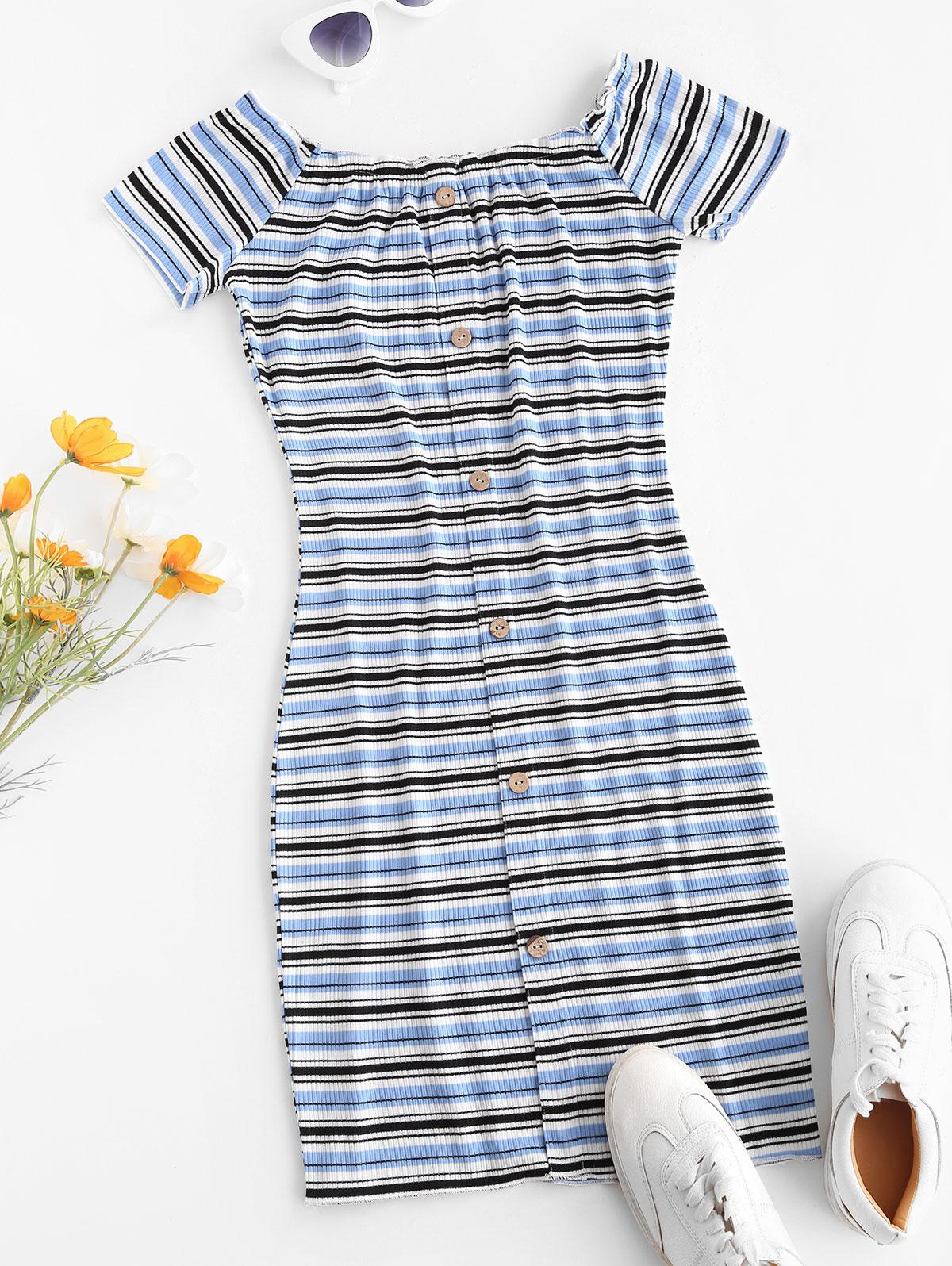 Off The Shoulder Ribbed Striped Bodycon Dress