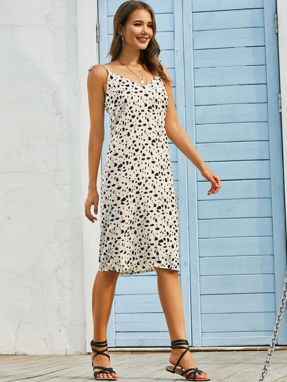 Dalmatian Print Tie Strap Cami Knee Length Dress