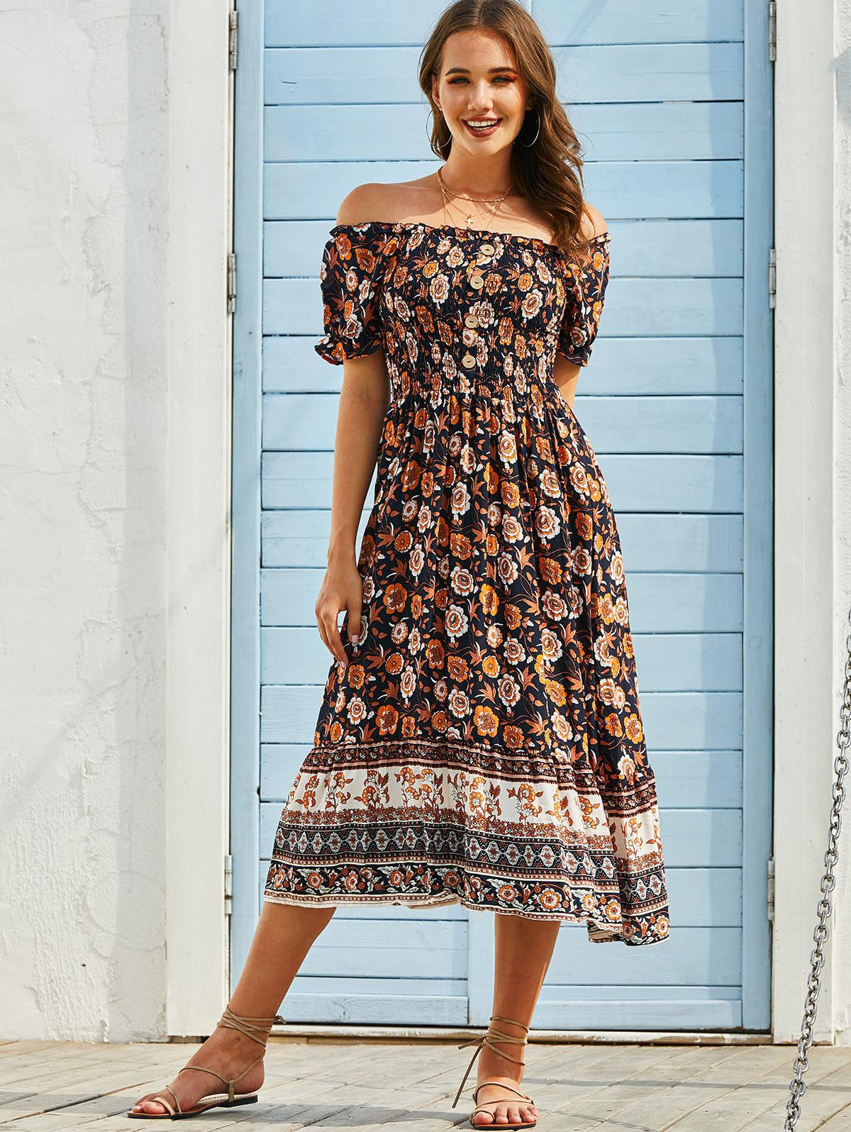 Floral Off Shoulder Buttoned Smocked Dress