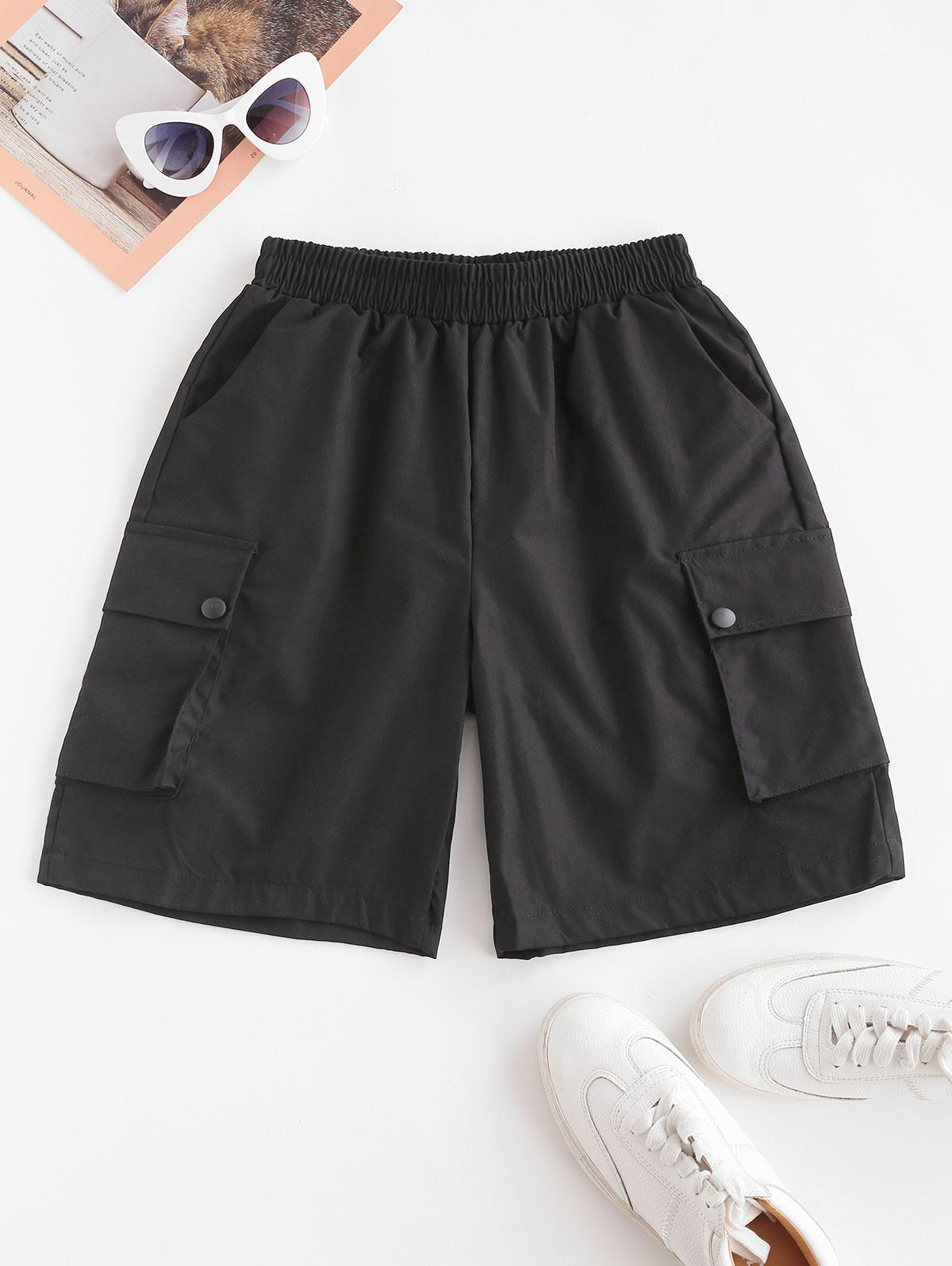 High Waisted Pockets Cargo Bermuda Shorts