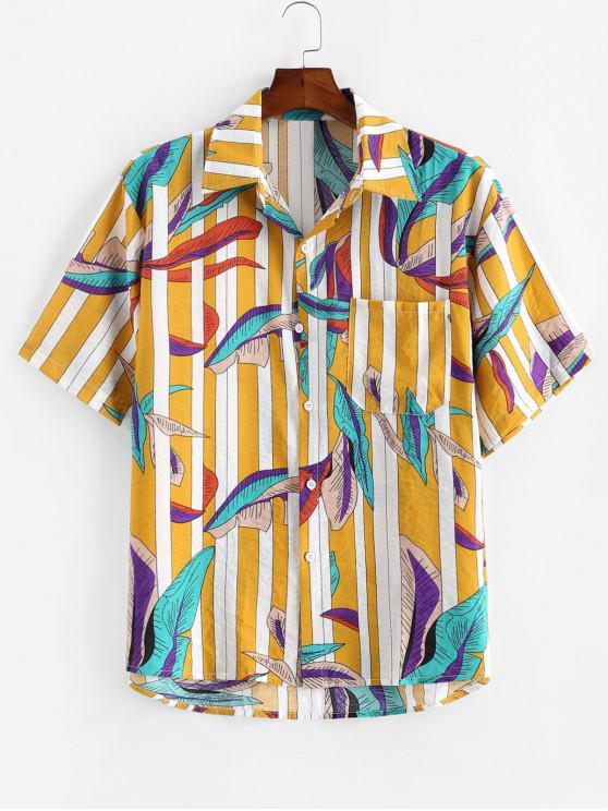 Blätter und Gestreifter Druck Taschen Hemd - Gelb 2XL