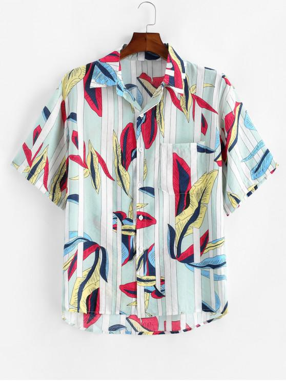 latest Leaves and Stripes Print Pocket Shirt - WHITE 2XL