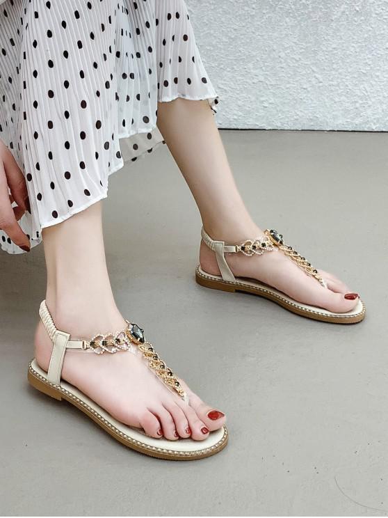 womens Rhinestone Heart Toe Post Flat Sandals - BEIGE EU 38
