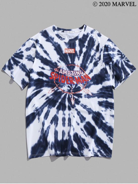 women's Marvel Spider-Man Graphic Tie Dye T Shirt - SLATE GRAY L