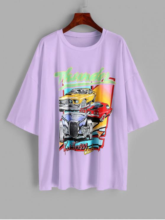 unique Oversized Thunder Graphic Car Print T-shirt - LIGHT PURPLE S