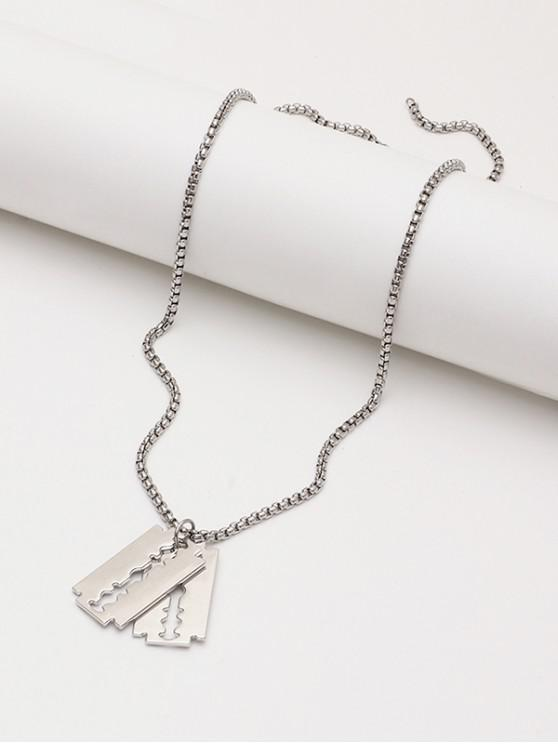 affordable Double Blade Pendant Chain Necklace - SILVER