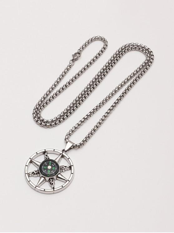 unique Compass Pendant Chain Necklace - SILVER