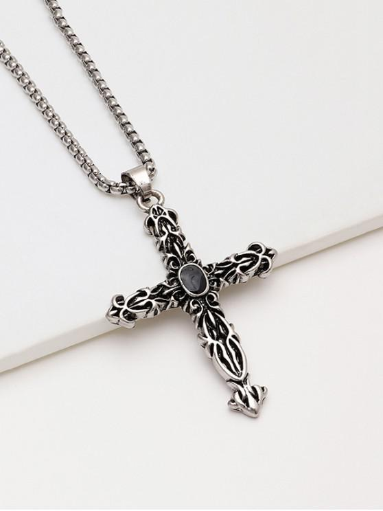 fancy Engraved Cross Pendant Chain Necklace - SILVER