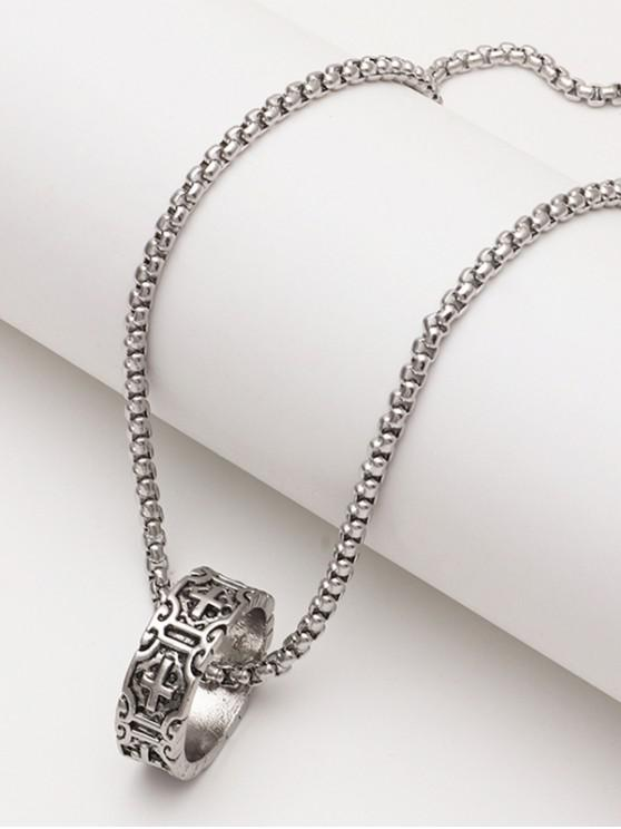 chic Engraved Cross Pattern Ring Pendant Chain Necklace - SILVER