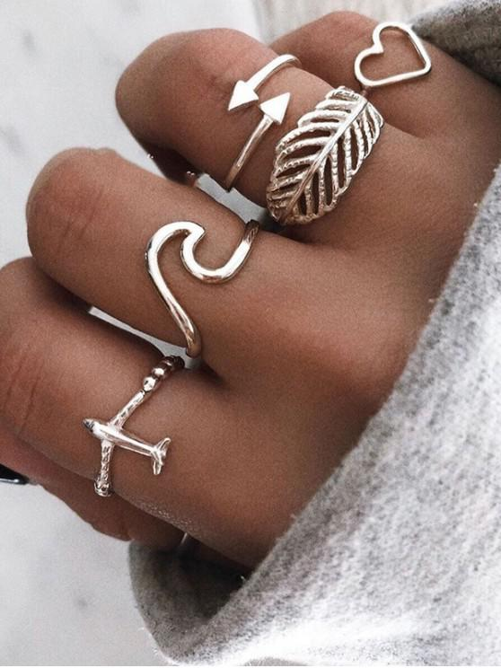 women's Leaf Heart Plane Shape Rings Set - SILVER