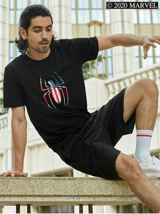 ladies Marvel Spider-Man American Flag Pattern T-shirt - BLACK S
